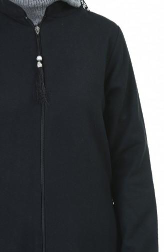 Fermuarlı Kaban 1035-01 Siyah