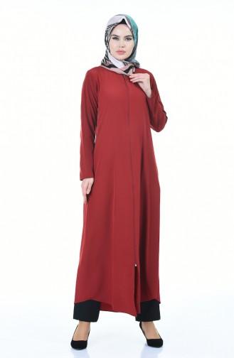 Abaya Fermeture a Glissiere 6026-02 Bordeaux 6026-02