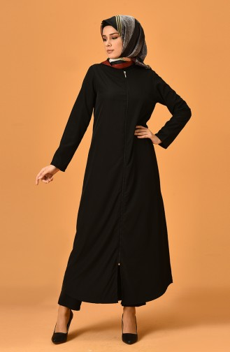 Abaya mit Reißverscluss 6026-01 Schwarz 6026-01