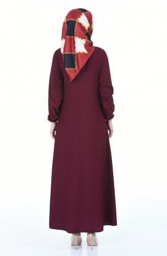 فستان بأكمام مطاطية مطوي بطية A كرزي 4536-05