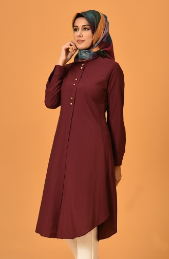 Button Detailed Tunic 1090-02 Cherry 1090-02