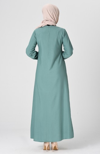 Büzgülü Elbise 1207-03 Çağla Yeşili
