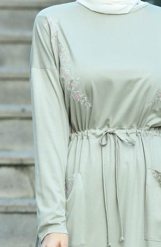 Nakışlı Cepli Elbise 8055-05 Taş