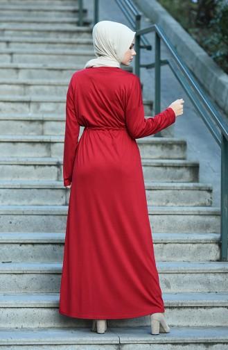 فستان أحمر كلاريت 8055-06