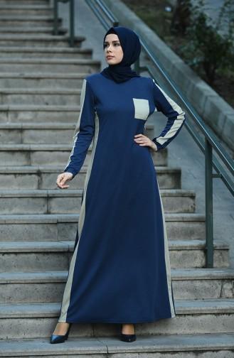 فستان أزرق كحلي 8075-01