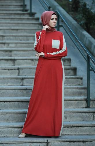 فستان قرميدي 8075-03