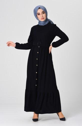 Samt Kleid mit Gürtel 1214-02 Dunkelblau 1214-02