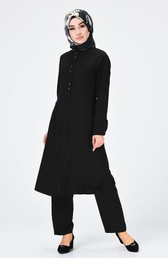Tunic Trousers Double Set Black 1208-01