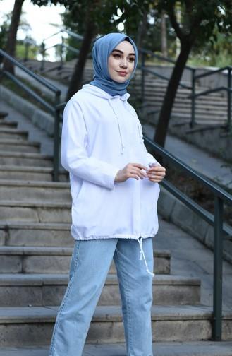 Kapüşonlu Spor Tunik 1001-04 Beyaz
