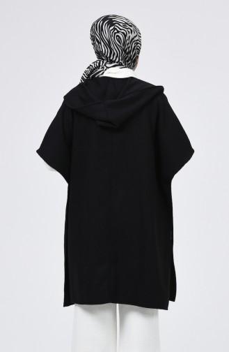 Kapüşonlu Kışlık Panço 5013A-02 Siyah