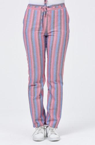 Çizgili Cepli Pantolon 0121-01 Pembe Mavi