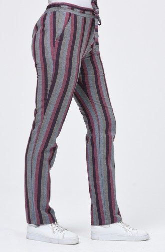 Striped Pocket Trousers 0121-02 Burgundy Gray 0121-02