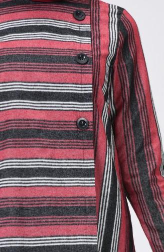 Çizgili Asimetrik Tunik 1135-01 Siyah Kırmızı