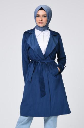 معطف مخمل بحزام أزرق برلماني 1016-05