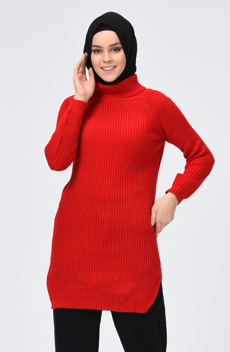 Turtleneck Tricot Sweater Red 2220 04