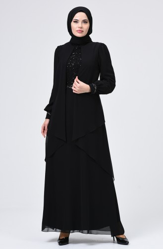 Payet Detaylı Abiye Elbise 52765-02 Siyah