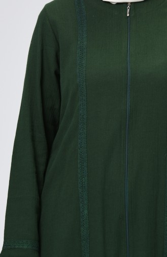 Şile Bezi Fermuarlı Ferace 2000-02 Zümrüt Yeşili