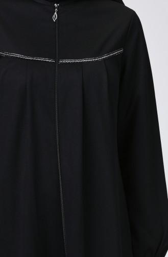 Pileli Fermuarlı Ferace 99234-01 Siyah