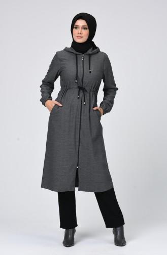 معطف شتوي بقبعة رمادي 2097-01