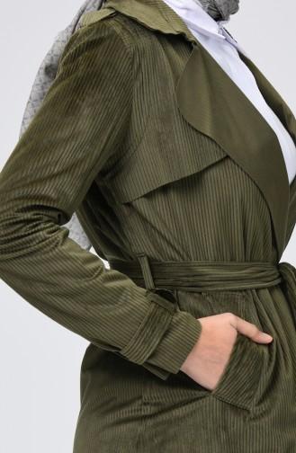 Belted Velvet Cape Khaki 1016-01