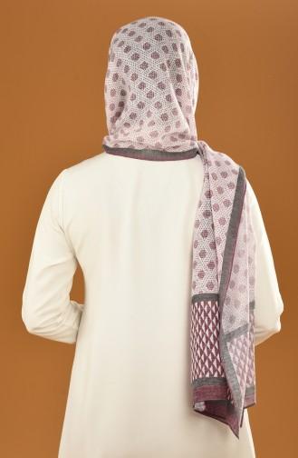 Autumn Patterned Cotton Shawl Damson 19-0200-02
