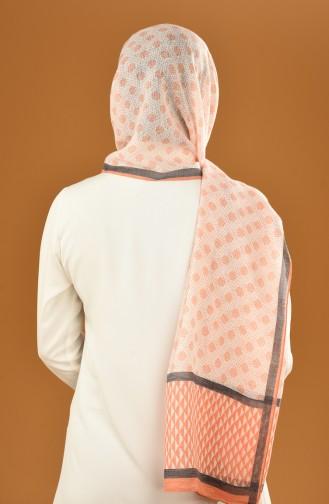 Autumn Patterned Cotton Shawl Orange 19-0200-09