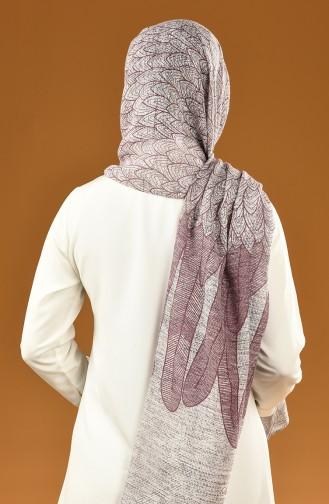 Autumn Patterned Cotton Shawl Damson 19-0400-08