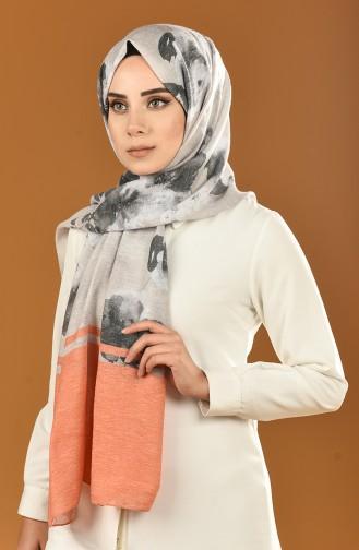 Autumn Patterned Cotton Shawl Orange 25-0502-07