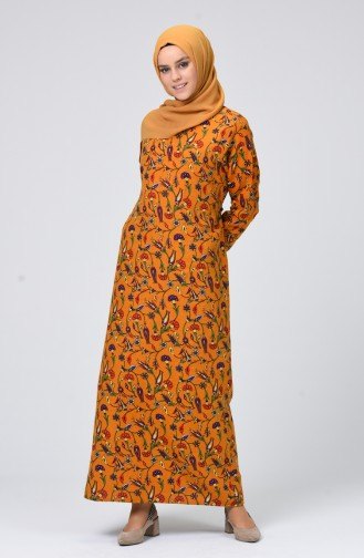 Mustard İslamitische Jurk 4040-04