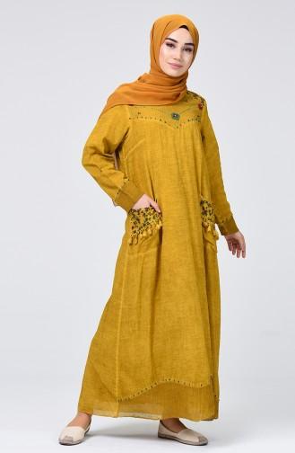Şile Bezi Püsküllü Elbise 9999-03 Hardal