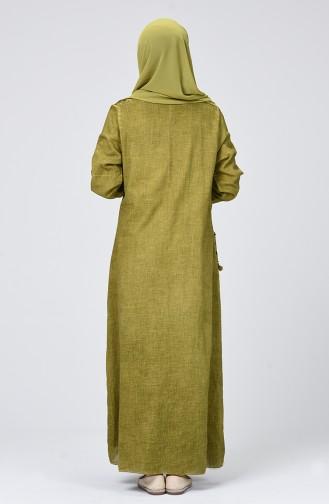 Şile Bezi Püsküllü Elbise 9999-04 Yağ Yeşili