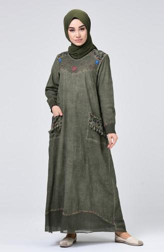 Şile Bezi Püsküllü Elbise 9999-06 Haki