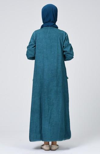 Şile Bezi Püsküllü Elbise 9999-08 Petrol