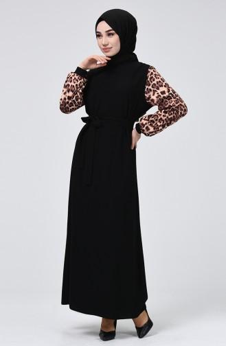 Leopar Desenli Kuşaklı Elbise 0337-01 Siyah