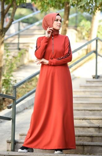 Sleeve Elastic Sports Dress Brick 8074-01