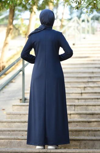 Sleeve Elastic Sport Dress Navy Blue 8074-03