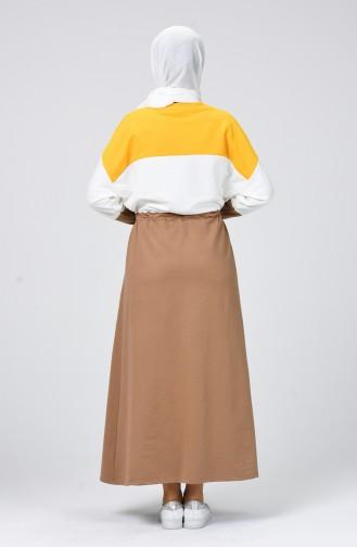 فستان رياضي خردلي وكستنائي 0782-03