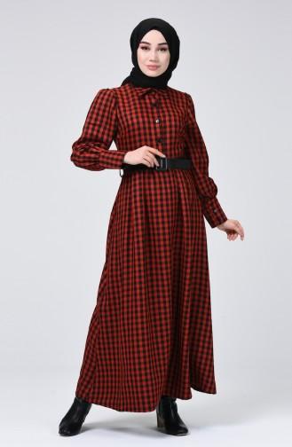 Kemerli Kareli Elbise 5954-02 Kiremit