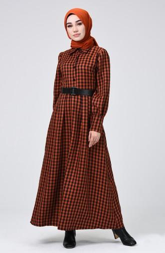 فستان أخضر تبغ 5954-03