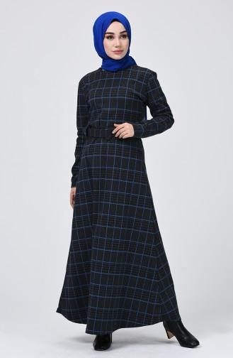 Ekose Desenli Kışlık Elbise 0014-03 Füme Saks