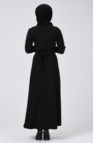 Kol Detaylı Elbise 4488-01 Siyah