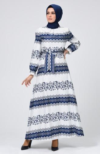 Navy Blue Hijab Dress 60068-01