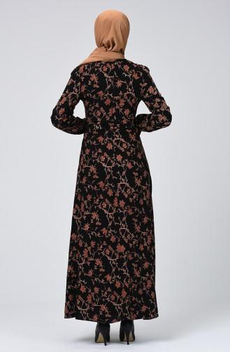 Kuşaklı Viskon Elbise 60073-01 Siyah