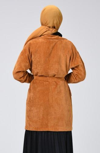 معطف مخمل بحزام وجيوب خردلي 1021-04