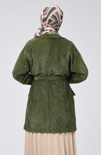 معطف مخمل بحزام وجيوب أخضر 1021-05