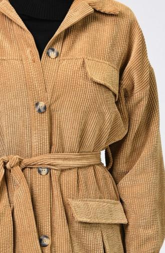 Pocket Detailed Belted Velvet Cape Camel 1021-06