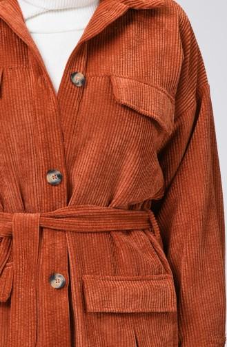 Pocket Detailed Belted Velvet Cape Brick 1021-07