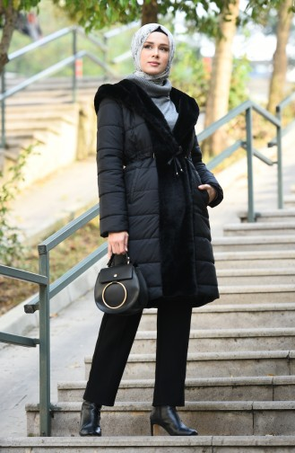 Plush Detailed Quilted Coat Black 0388-01
