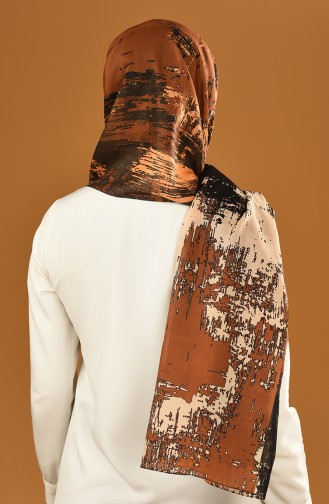 Patterned Cotton Shawl Dark Khaki Orange 95307-02