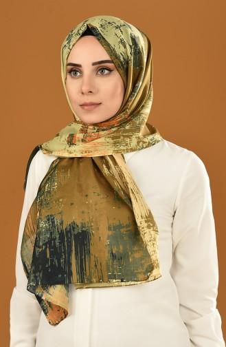 شال قطني منقوش أخضر وبرتقالي 95307-03
